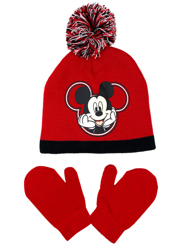 Disney Mickey Mouse Toddler Boys Pom-Pom Beanie Hat & Mitten 2-Piece Winter Set