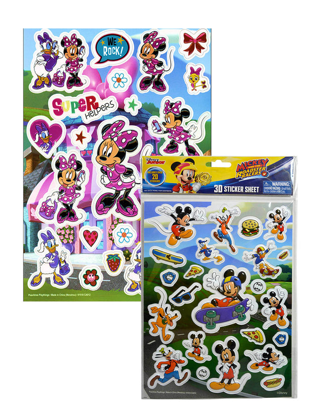 Mickey Roadster Racers Stickers & Minnie Mouse Daisy Raised Stickers (40-CT)