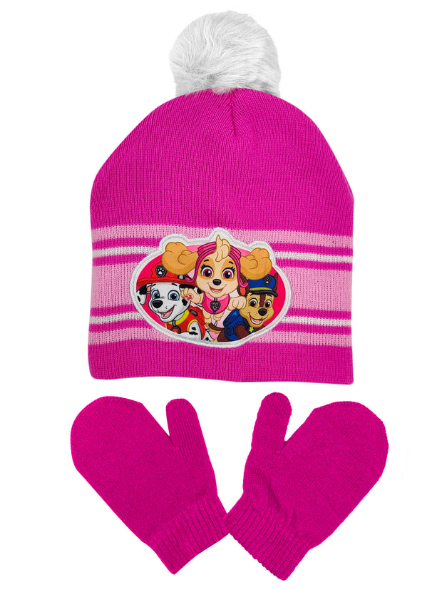 Toddler Girls Paw Patrol Skye Chase Knit Beanie Hat Pom-Pom & Mittens 2-PC Set