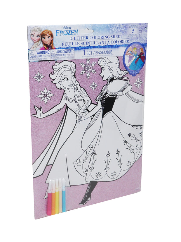 "Disney's Frozen Elsa & Anna Glitter Coloring Posters 16"" w/10-Markers 2-Pack"