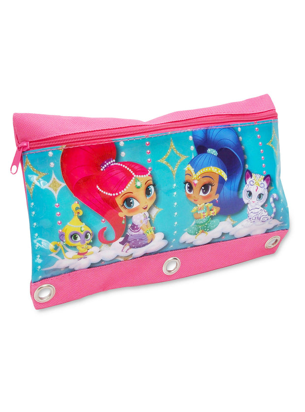 Shimmer & Shine Large Clear Tote Bag & 3-Ring Pouch Holder 2Pcs