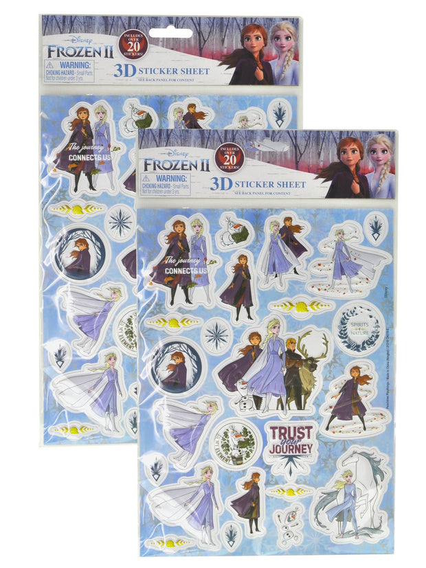 Disney Frozen II Elsa Anna Raised 3D Sticker Sheet Kristoff 2-Piece Set (48-CT)