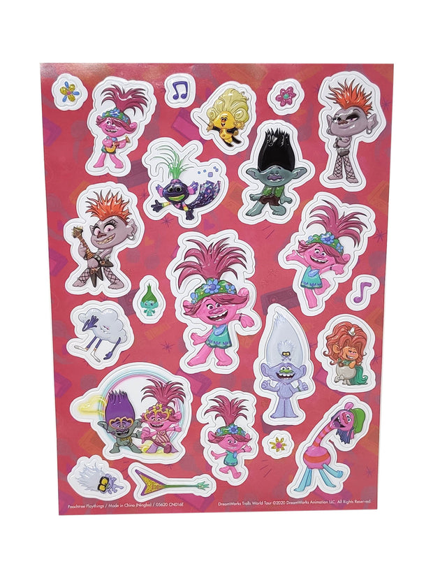 Dreamworks Trolls World Tour 3D Raised Stickers Poppy Barb Music 2 Piece Set