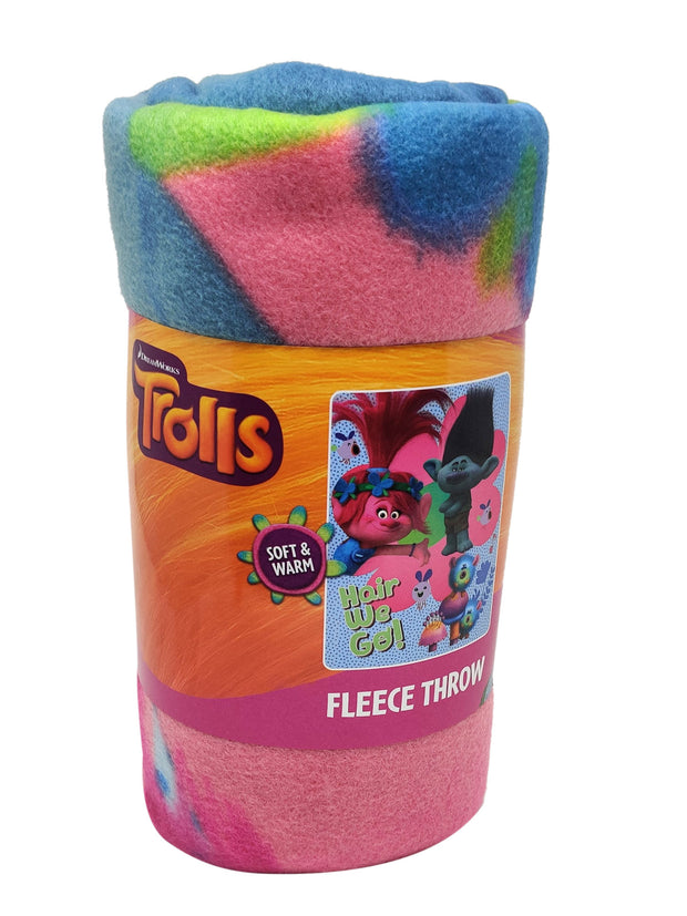 "Kids Trolls Throw Blanket Poppy Branch Fleece 45 ""x 60"" Hair We Go!"