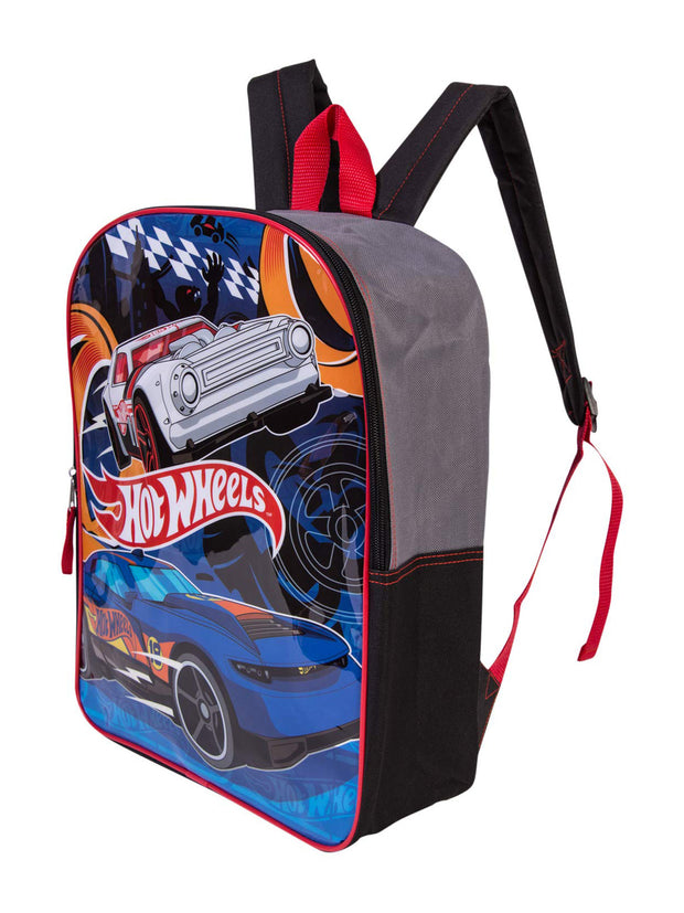 "Hot Wheels Boys Race Cars Large 15"" Backpack Black Gray"