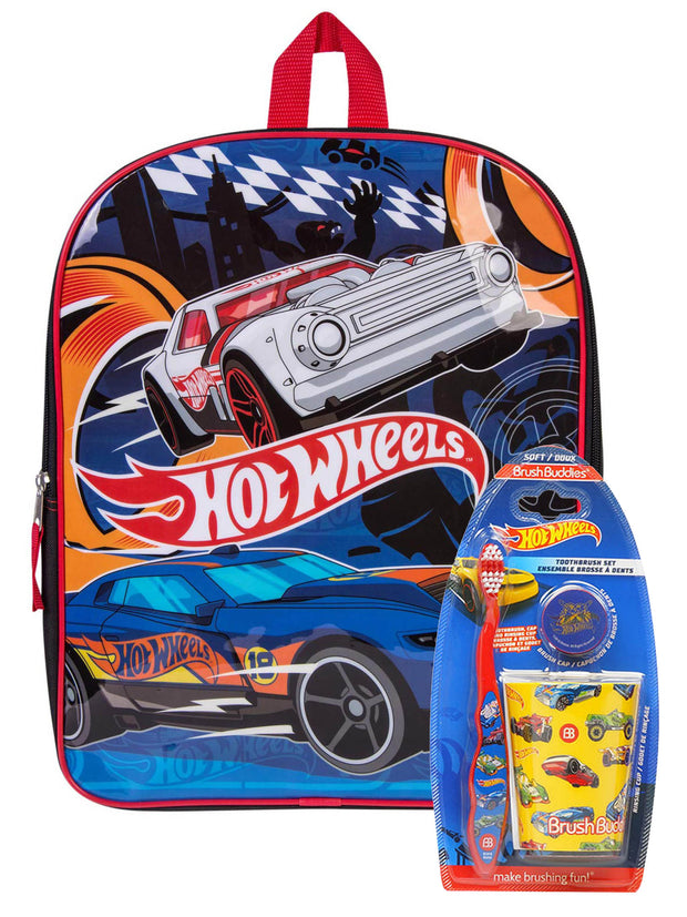 "Boys Hot Wheels Race Cars 15"" Backpack w/ Toothbrush Cap & Rinsing Cup Set"