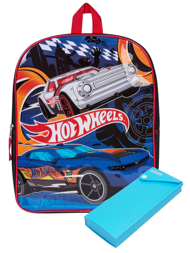 "Boys Hot Wheels Race Cars 15"" Backpack w/ Sliding Pencil Case Set"