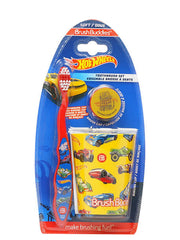 Boys Hot Wheels Cars Toothbrush Blue w/ Cap and Rinsing Cup 3-Piece Set