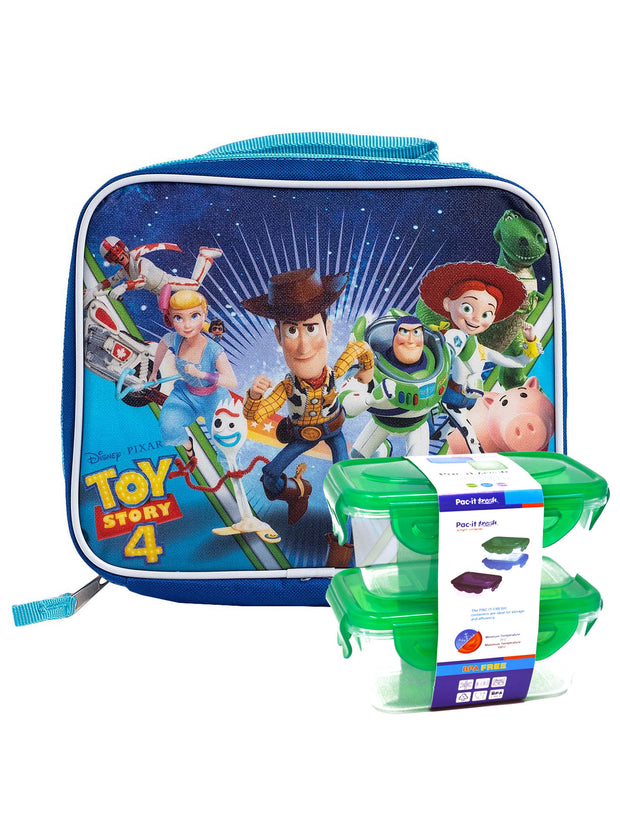 Disney Toy Story 4 Insulated Lunch Bag Woody Forky w/ 2 Pc Snack Container Set