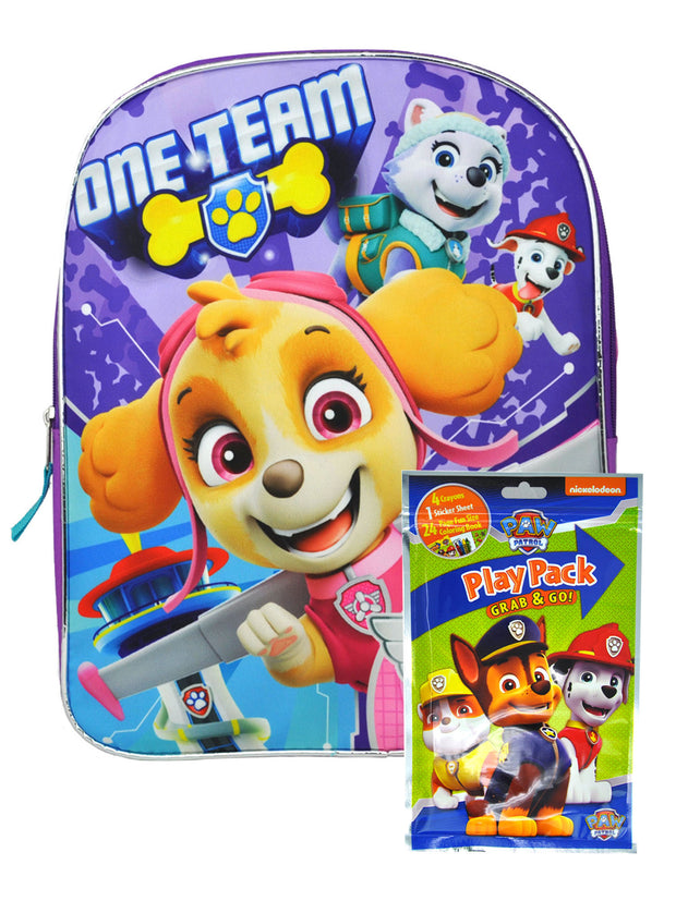 "Girls Paw Patrol 15"" Backpack One Team w/ Grab-N-Go Play Plack Crayons Stickers"