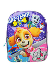 "Paw Patrol Girls Large 15"" Backpack One Team Purple"