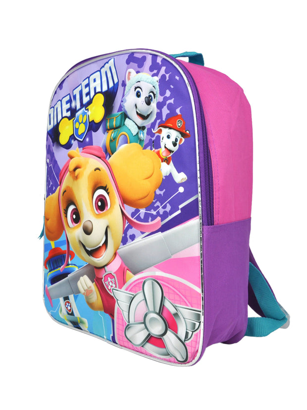 "Paw Patrol Purple 15"" Backpack One Team w/ Kids Retractable 6-Color Pen Set"