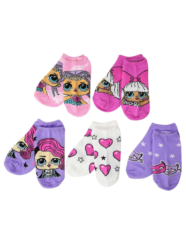 Girls LOL Surprise No Show Socks 5-Pairs  Age 4-7 (Shoe Size 7.5 - 3.5)