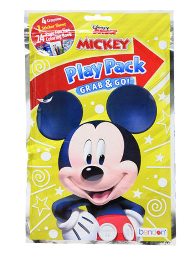 Mickey Mouse Play Pack Grab & Go Crayons Coloring Book Party Favors Gift 6 Pack