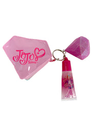 Girls Jojo Siwa Cosmetics Coin Purse Bag & Diamond Key Chain & Lip Gloss Set