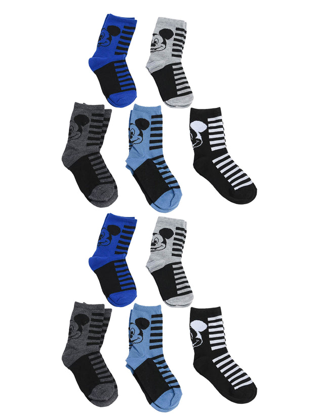 Disney Mickey Mouse Boys Toddler Crew Socks (10-PAIRS) Age 2-5