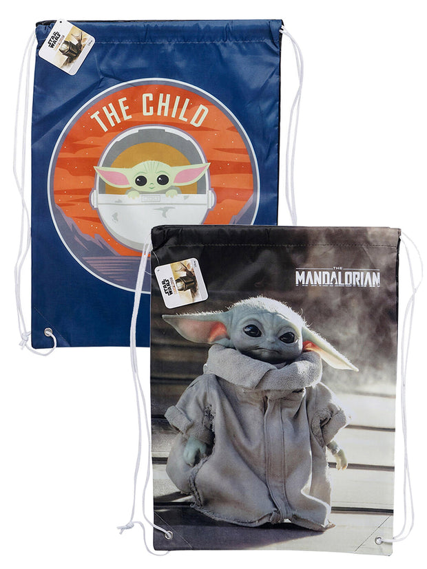 "Disney 18"" Baby Yoda Drawstring Bags The Mandalorian 2 Pack Set Blue & Gray"