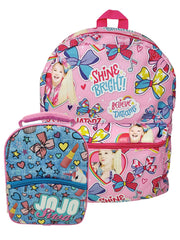 "Girls JoJo Siwa All-Over Print 16"" Backpack w/ Insulated Lunch Bag Unicorns"