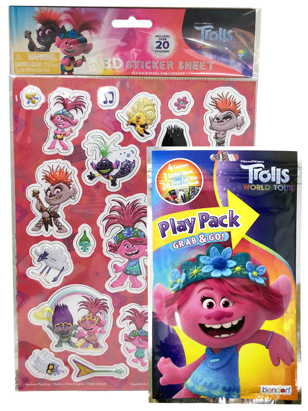 Trolls Poppy Grab-n-Go Play Pack Coloring Book w/ Barb Music 3D Raised Stickers
