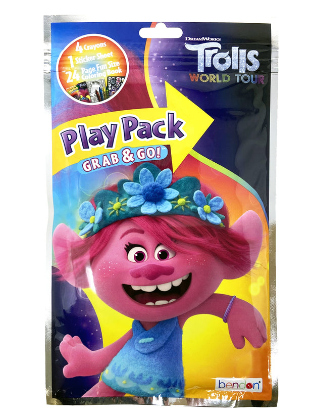 "Girls Trolls Poppy Mini 11"" Backpack w/ Grab-n-Go Play Pack Crayons Stickers"