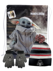 "Star Wars Darth Vader Kids Beanie & Gloves w/ Baby Yoda 18"" Sling Bag Gray Set"