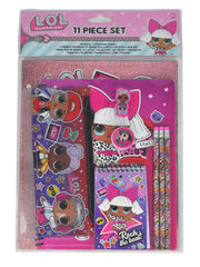 LOL Surprise! Girls 11-Piece Writing Stationery Set Pencil Pouch Folders Pencils