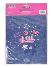 LOL Surprise 11-Piece Stationery Set Pencil Pouch w/ 3D Raised Stickers