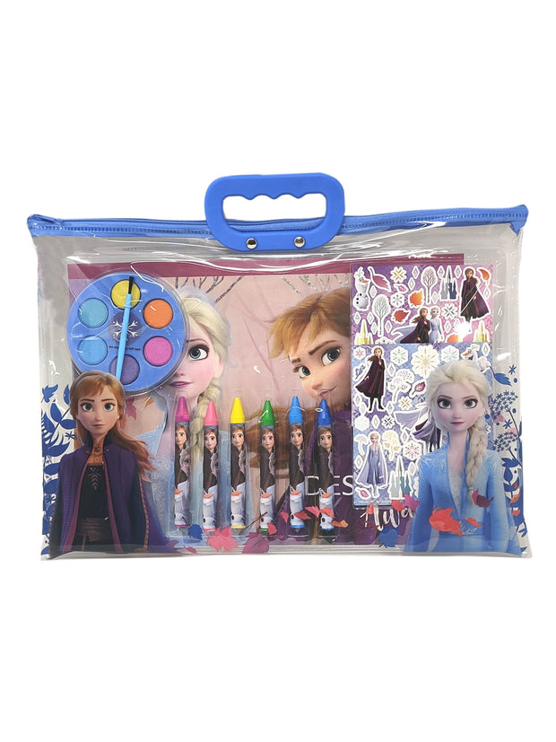 Kids Girls Frozen Face Cover All-Over Print w/ 12-Piece Stationery Tote Bag Set