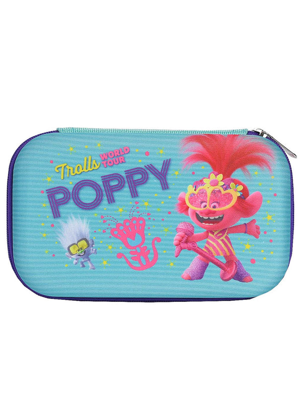 Trolls World Tour Pencil Case Molded Zipper w/ Colored Wooden Pencils 8-Pack