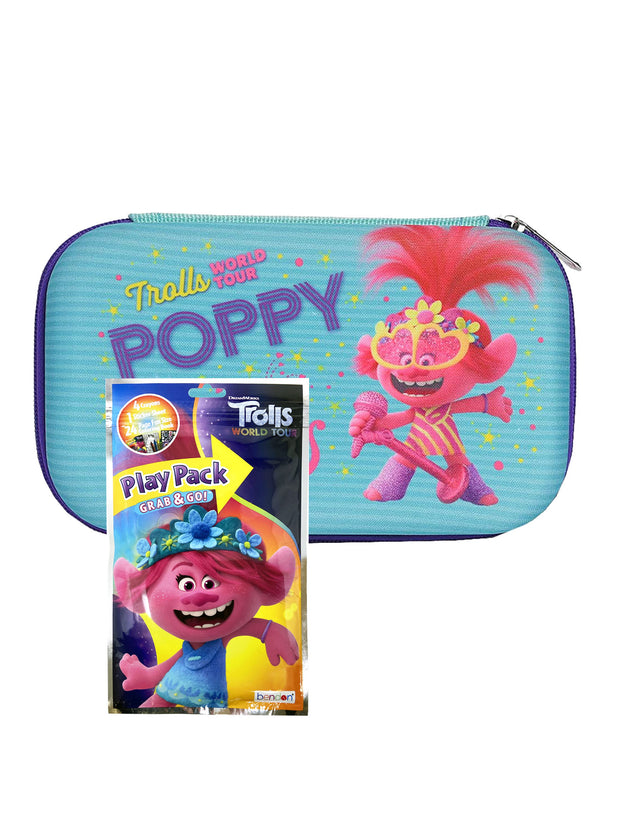 Dreamworks Trolls World Tour Pencil Case w/ Grab-N-Go Play Pack Crayon Stickers