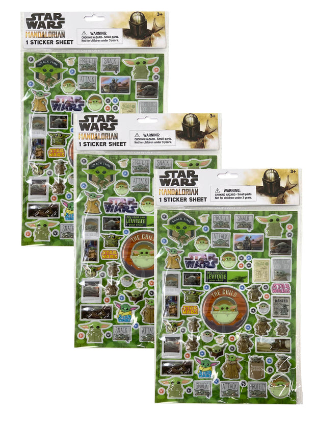 Disney Star Wars Baby Yoda Mandalorian Child 3D Raised Stickers 3 Pack Set