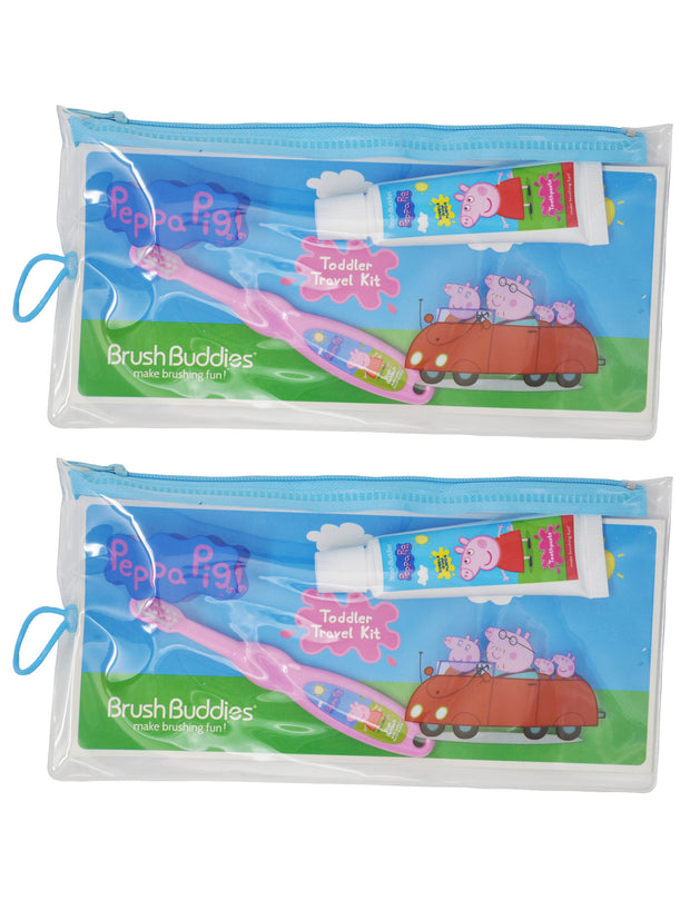 Girls Peppa Pig Toothbrush & Toothpaste Zipper Travel Kit 2-Pack