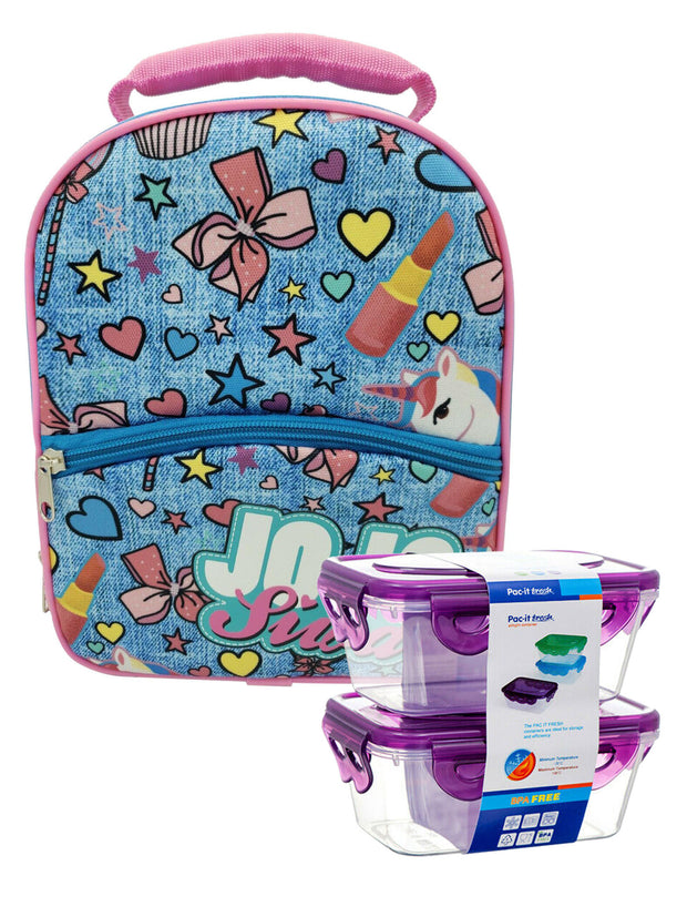 JoJo Siwa Girls Insulated Lunch Bag Kit Unicorn & 2 Piece Snack Container Set