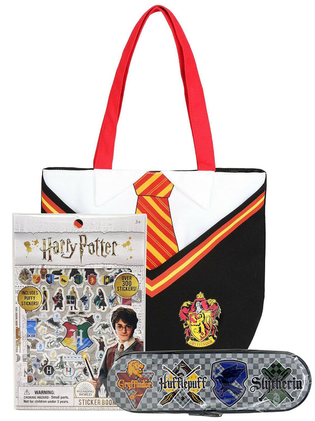 Harry Potter Gryffindor Uniform Tote Bag w/ Tin Pencil Case & Puffy Sticker Set