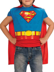 Boys Superman Muscle Shirt Hero Costume Detachable Cape (Size 4-6)