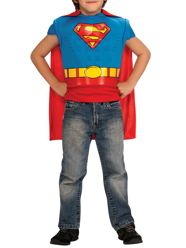 Boys Superman Muscle Chest Shirt Set with Detachable Cape Size 4-6