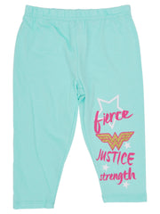 Little Girls DC Comics Wonder Woman Leggings Justice Pink Turquoise (2-Pack)