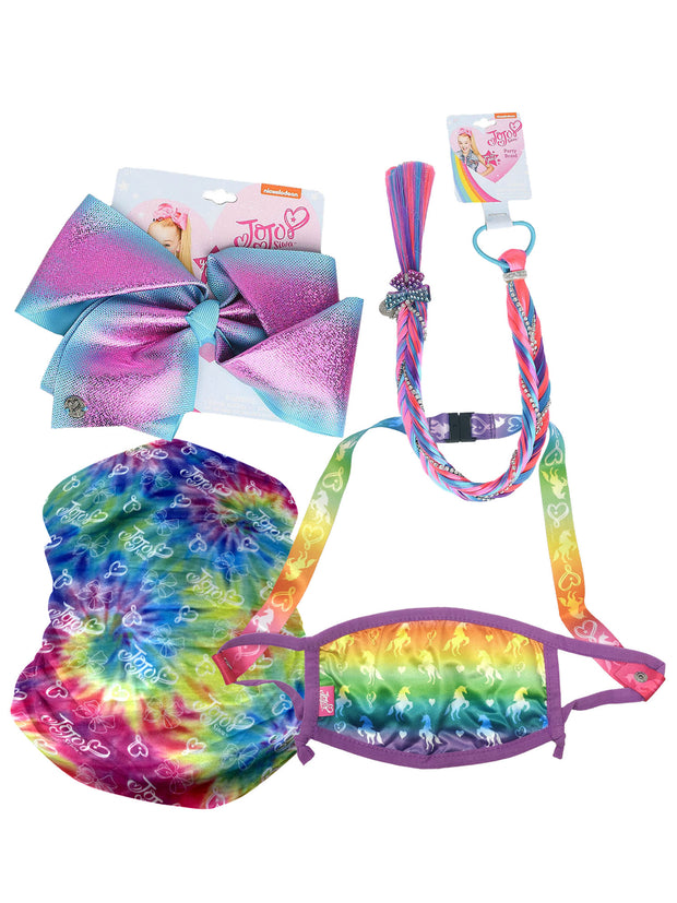 JoJo Siwa Large Bow Party Hair Braid w/ Unicorn Face Mask & Tie Dye Neck Gaiter