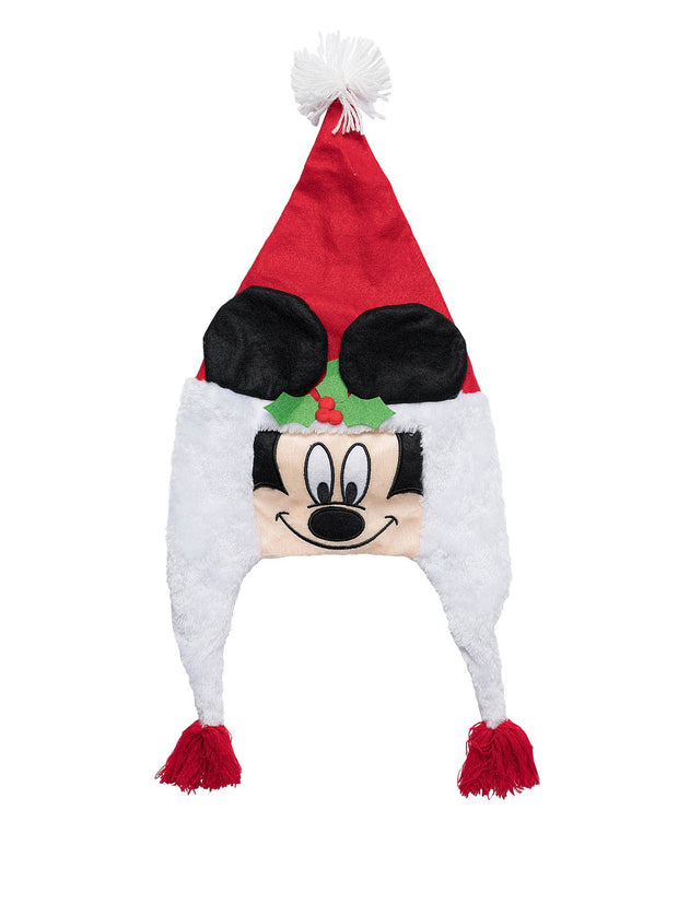 Boys Disney Mickey Mouse Christmas Santa Hat Face Ears Holiday Red