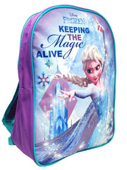 "Disney Frozen Elsa Backpack 15"" Keeping the Magic Alive Purple"