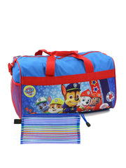 "Boys Paw Patrol Duffel Bag 18"" Chase Marshall w/ Zipper Mesh Travel Pouch"