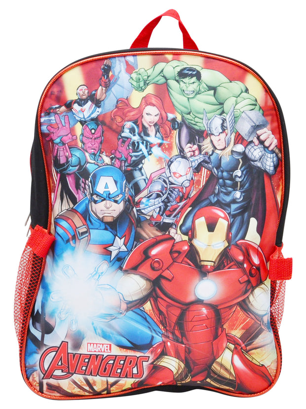 "Boys Avengers Backpack 16"" Detachable Lunch bag & Pencil Case 3Pcs"