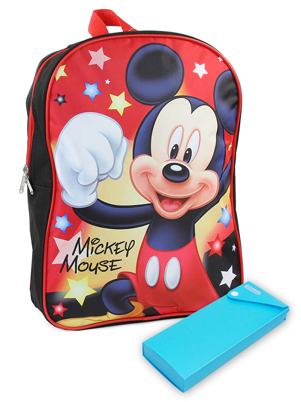 "Boys Mickey Mouse Backpack 15"" Stars & Pencil Case 2Pcs"