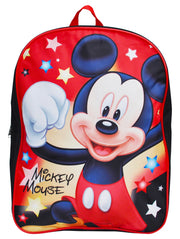 "Boys Mickey Mouse Stars Backpack 15"" Black Red"