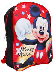 "Boys Mickey Mouse 15"" Backpack Stars w/ Disney Play Pack Grab & Go Stickers Set"