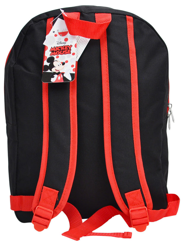 "Boys Disney Mickey Mouse Stars Backpack 15"" Black Red"