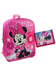 "Minnie Mouse Flowers Backpack 15"" & Bifold Wallet Pink 2Pcs"
