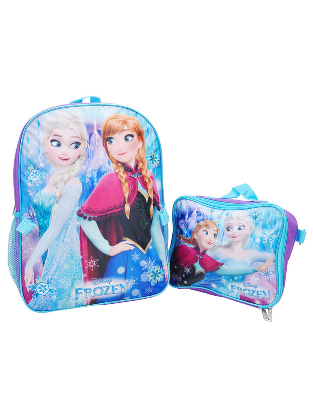 "Girls Disney Frozen Sisters Backpack 16"" with Lunch Bag 2-Piece"
