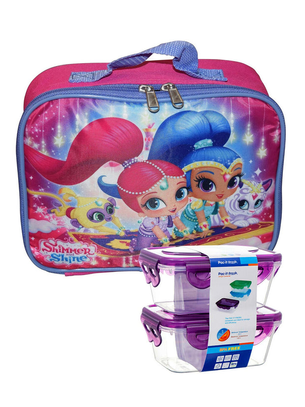 Girls Shimmer and Shine Insulated Lunch Bag w/ Snack Container Set