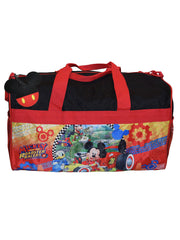 "Disney Mickey Mouse Duffel Bag 18"" Racing w/ Mickey Costume PVC Travel Tag"